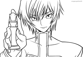 Lelouch: Checkmate line art by zomgspongelolbob48