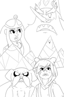 Adventure time poster thing (lineart) by Weaponized-Wafflez
