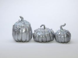 Silver Glam Dollhouse Pumpkins by Ethereal-Beings