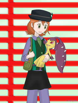Trainer Lyssia and Mawile Bakuzan by Apkinesis