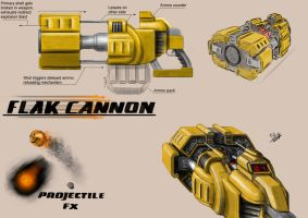 Unreal Tournament - Flak Cannon Concept Art by Sly-Mk3