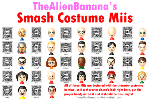 Smash Costume Miis (UPDATED for Copying/Editing) by TheAlienBanana