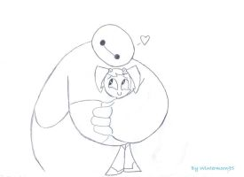 Baymax Hugging Jenny by WinterMoon95
