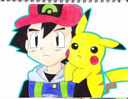 ash and pikachu (blank face) by Yami-The-Orca