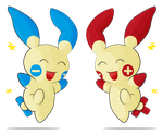 Plusle . Minun - Posipi . Negapi by Sun-d4y