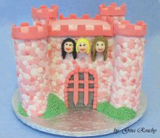 Pink Castle Cake by ginas-cakes
