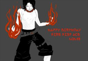 Happy Birthday Fire Fist Ace by InsanitylittleRed