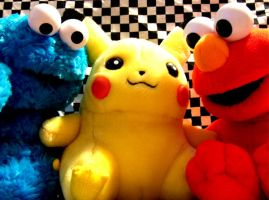 cookie monster pikachu elmo by chyanneypoo