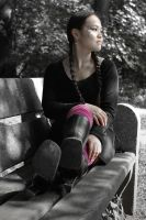 booted lady on a bench by stereo-B
