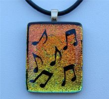 Fiery Music Glass Pendant by FusedElegance