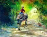 Water Buffalo and Young Boy Rider2 by j0rosa