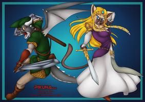 YCH - The new Link and Zelda by Pikuna