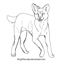 Free Serval Cat Lineart-paint by NinjaPancake