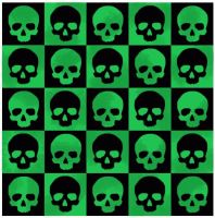 Green and black skulls by hel-dore