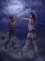 zombie hunter pinup by belldandy105