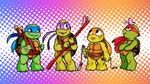 Tiny chibi turtles by noodle-doodle