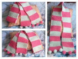Cute Pink and Light Green Pom-Pom Scarf by Wootzie14