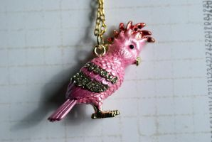 Large Pink Cockatoo Necklace by MonsterBrandCrafts