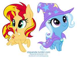 Sunset Shimmer and Trixie by StePandy