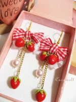Strawberry Love Earrings by murasaki-ran