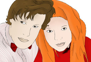 Doctor And Amy Coloured by drawingdream