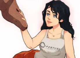 Chell Sits For No Reason by lord-phillock