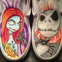 Jack and Sally Custom vans by VeryBadThing