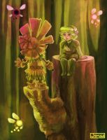 Saria and Skull Kid by Jujulica