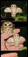 Saw-whet Owl Pendant - Details by Eregyrn