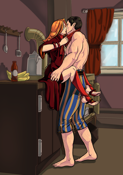 Kissing in the kitchen by halmtier