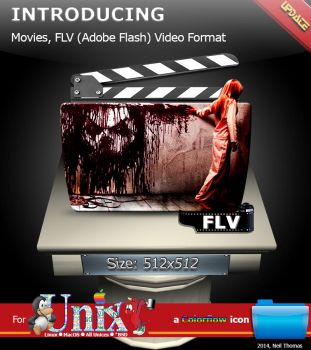 Movies, FLV (FLASH) format folder icon (ColorFlow) by nt291263