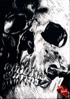 skull scratch art by MattieMacabre