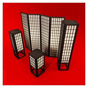 Japanese Screen and Lamps by dezinico
