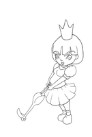 Queen of Hearts Chibi Lineart by Silly-Lady