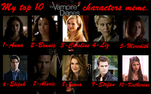 My Top 10 The Vampire Diaries Characters by AerisSs