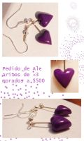 Purple Heart clay earrings by Eliwi