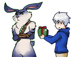 Jack Frost and Bunnymund 7 by saeru-bleuts