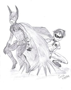 Batgirl and Robin by Miss-FireStar