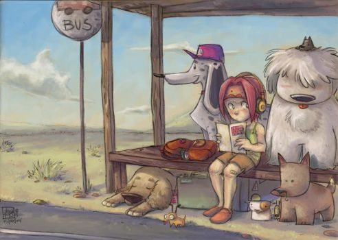 At the Bus Stop - CGED by jingster