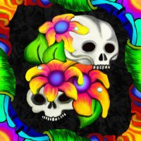 Two Skulls and Three Flowers by TechBehr