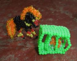 Beaded Bandi and rabbit cage by Anabiyeni