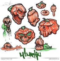 Skull Pumpkin Sketches by poBear