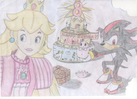 Peach (cake and presents), Shadow and Chao. by tlin1