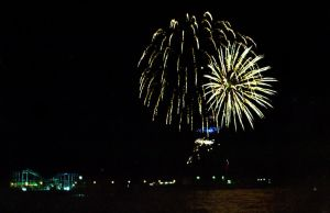 Fireworks over the sea by Nigel-Kell