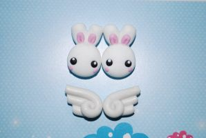 small studs bunnies and wings by Libellulina