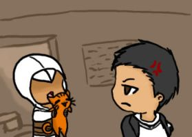 Altair and kitty by Halkheart
