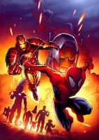 spidey and ironman and ultron by deemonproductions