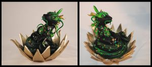 Green and Black Lotus Dragon by gummiberri