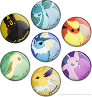 Eeveelution Pin Fun by jaclynonacloud