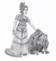 A girl and her Pet... by R3dF0x